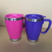 promotion custom insulated stainless steel printed travel coffee mugs with handle and lid