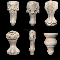 Wholesale Unpainted Traditional Carved Wood Furniture sofa cabinet Legs