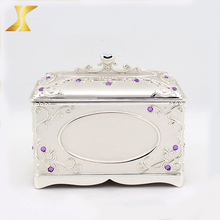 Zinc alloy video jewelry box, metal hinged trinket box
