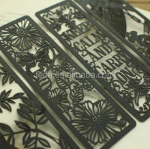 2014Teda Laser cut Black card hang tags/Bookmark