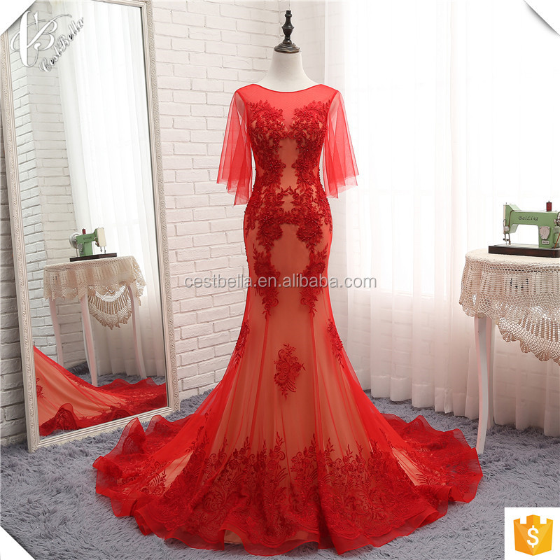 Aliexpress Chic Long Train Latest Luxury Wedding Gown Designs Red Mermaid Wedding Dress 2017