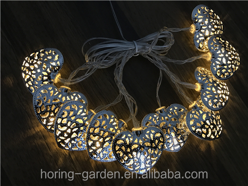 Heart shape light Steel iron solar string light garden light with battery holder