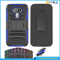 3 in 1 PC+Silicone Super Robot Shockproof Combo Holster Case For LG G5 With Belt Clip