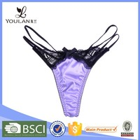New Design Elegant Hot Girl Lace and Satin Thongs Slip