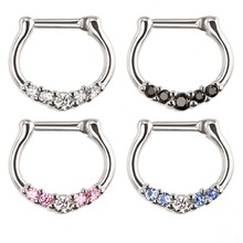 316L Stainless Steel 14g 16g Septum Clicker Bull Ring Piercing Nose Ring with Diamond