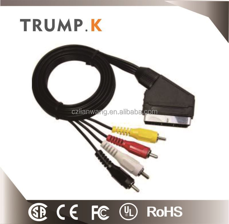 New design scart 21 pin to 4 rca cable factory