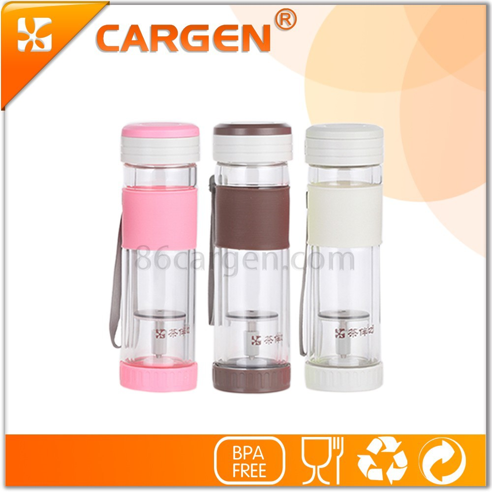 Heat resistant 330ml double wall glass water bottle with silicon sleeve