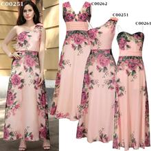 X61063A Elegant Women Slim Chiffon Long Maxi Dress Fashion Floral Printed Pink Dress