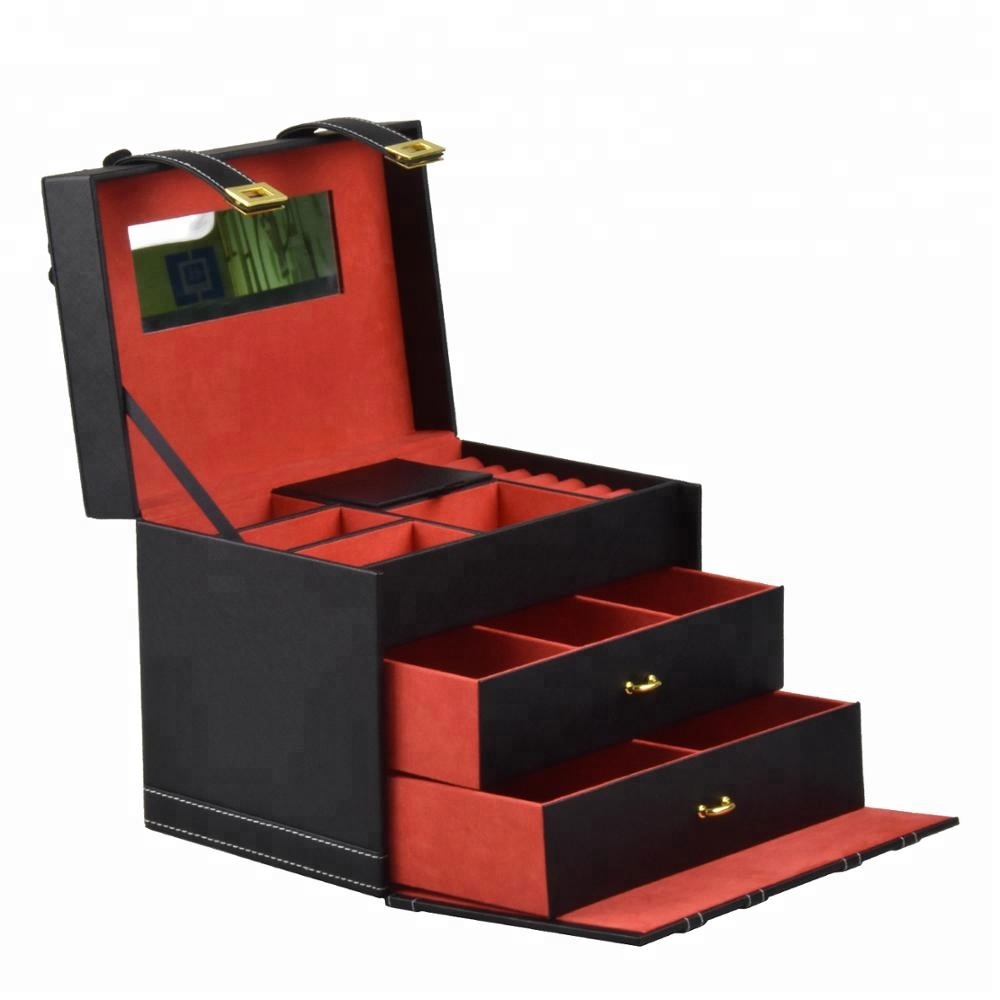 Multilayer custom logo luxury gift jewelry box package cardboard drawer jewelry box organizer lock layer for women