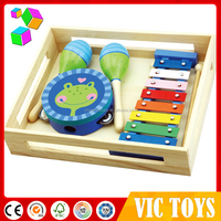 Custom variety of initiation pine wood music instrument set baby toy wholesale
