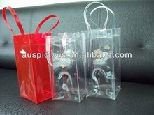 2012 hot sale Transparent PVC ice / cooler bag with strong golden PU handle