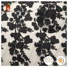 High quality polyester mesh black flower leaf embroidery laser cut lace fabric