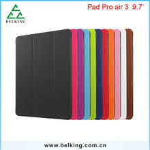 For iPad Pro Air Super Slim Solid Color Three Folding Stand Holder Leather Case