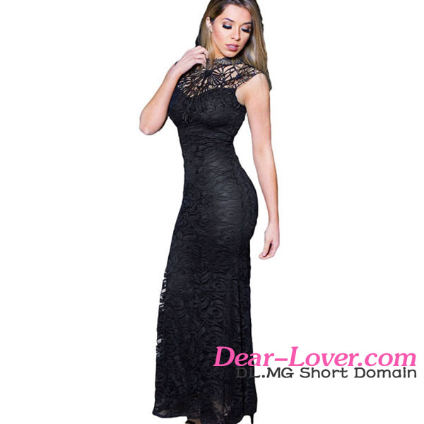 2016 Hot Factory Price Sexy Black Lace Sleeveless Long Mermaid Evening Party Dresses