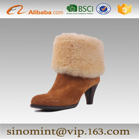 camel suede and sheep wool high heel ankle boots for women