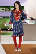 Ladies Cotton Kurti Neck Designs 2013