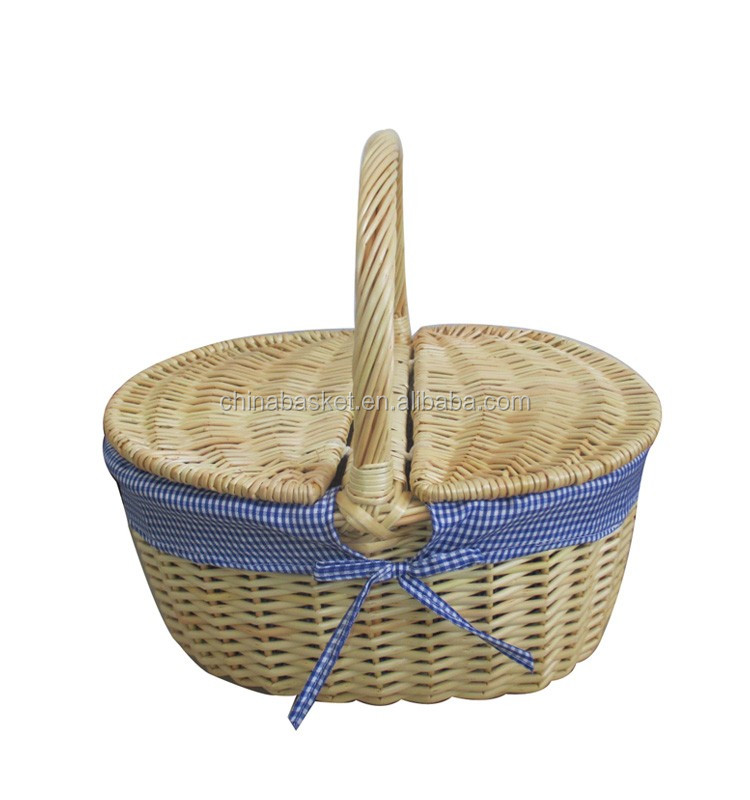 new blue gingham closed shopper with lid, willow basket