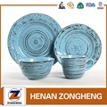 16pcs embossed solid glazed ceramic stoneware dinner set with brown antique brush design