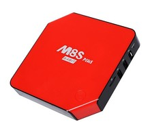 Bestselling 2016 Android tv box M8S plus m8s+ 64 BIT in red/black Amlogic S905 android 5.1 andriod tv box remote control
