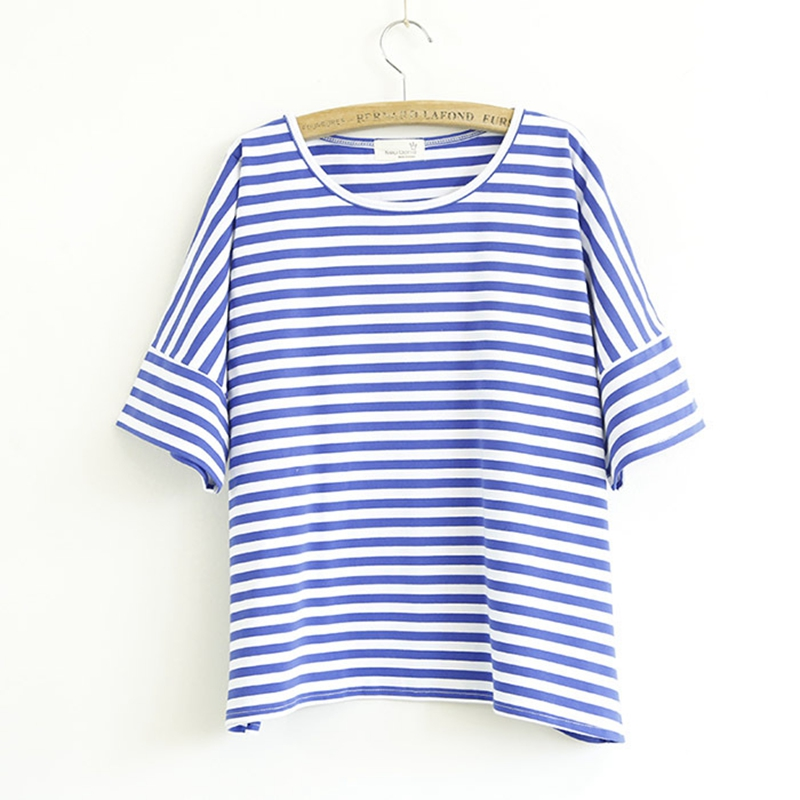 Blue and white stripe plus sizes short sleeves T shirt ladies' tops