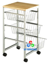 3-tiers Rolling Kitchen serving Organizer Storage Basket Trolley Cart for sale