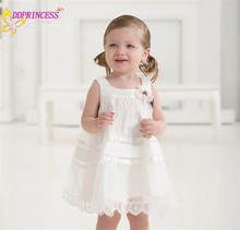 cheap price baby cotton dresses flower appliqued white lace dress girls cotton knit ruffle dresses