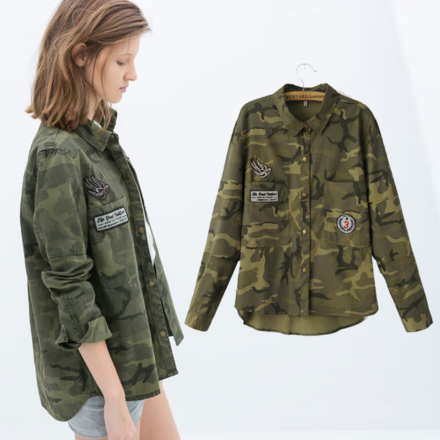 Z90879B 2017 Summer latest popular causal designs long-sleeved camouflage women shirt for sexy ladies