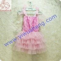 hot sale girls Gallus Sleeveless dress Kids Fashion Princess Dress,girls flower tops with pink four-layer tutu