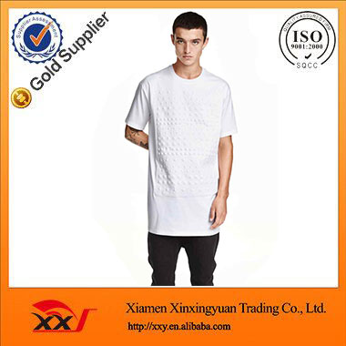 2016 top fashion apparel 3d embossed printing t shirt white longline t shirt online shopping made in china