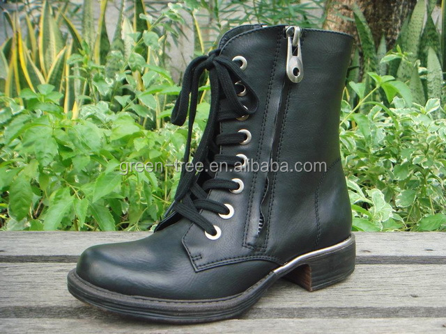 2016 Newest Design Fashion Women Lace Up Ankle Half Boots Martin Shoes with Zippers