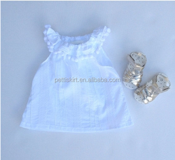 Baby plain white top sleeveless outfit fashion summer clothes online shopping for wholesale clothing