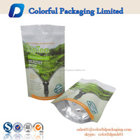 wholesale stand up hemp resealable pouch green foil tea bag packing