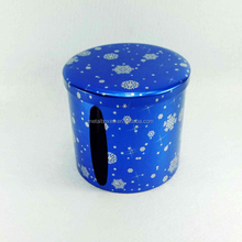 Promotional gift tissue paper round metal tin box packing