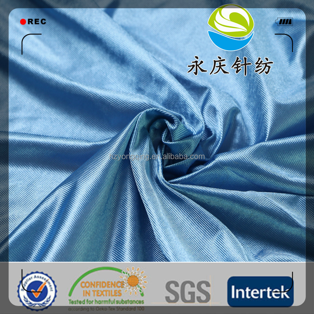 china manufacturer 100% polyester tricot poly dazzle fabric for garment