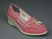 comfortable pink nurse shoes with wedge heels tassel lace women wedge nurse shoes