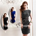 New Korean Women's Casual One Shoulder Sleeveless Mini Dress 9511