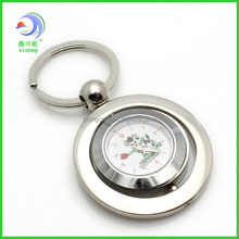 metal rotatable round clock keychain
