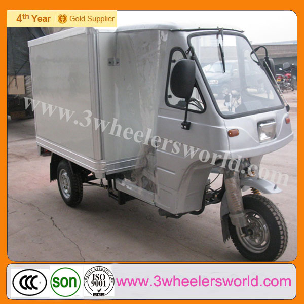 2014 new motorized operated tricycle/ the cheapest tricycle/diesel tricycle with enclosed cargo box can be open in China
