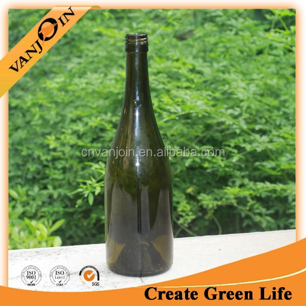 750ml Antique Green Color Red Wine Burgundy Glass Bottle