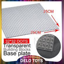 Plastic enlighten block toys educational kids building bricks ABS material transparent base plate 32*32 DE033-11
