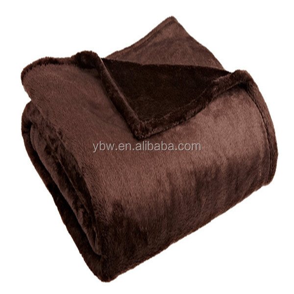 100% polyester high quality twin size chocolate flannel fleece stock blanket