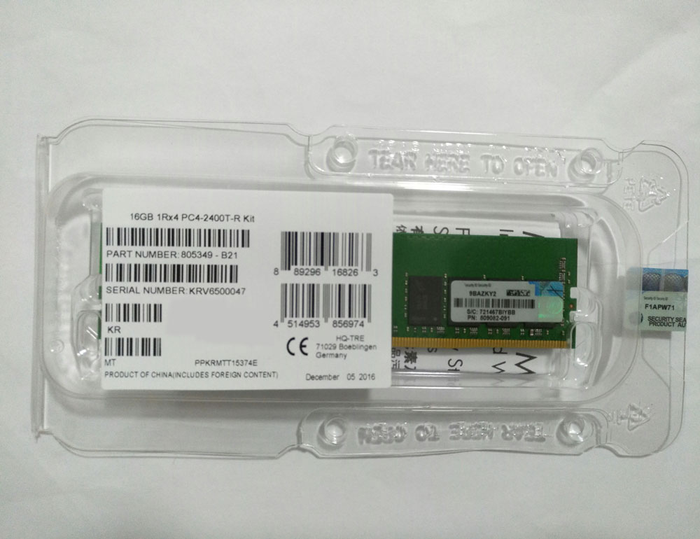 Suppprt sample order 16GB 1Rx4 DDR4-2400 RDIMM 1.2V for HP 805349-B21 SY