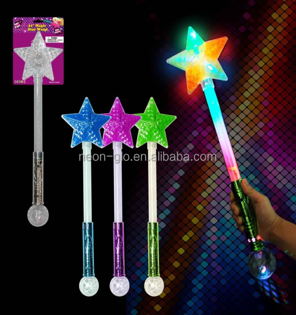 2016 Fashional Design Kid Toys Colorful LED Magical Star Stick Wand for Party