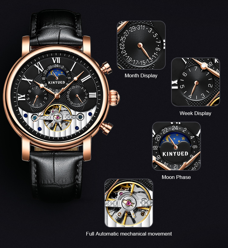 KINYUED hot luxury brand mechanical  automatical movement business  genuine leather watches