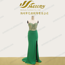 Emerald beaded sweetheart neckline long side slit evevning stylish maxi dress