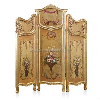Luxury Gold Painting Folding Screen Antique Wooden Curio Floor Screens  Classical Furniture Decorative Screen