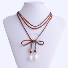 tan suede pearl charm women choker necklace