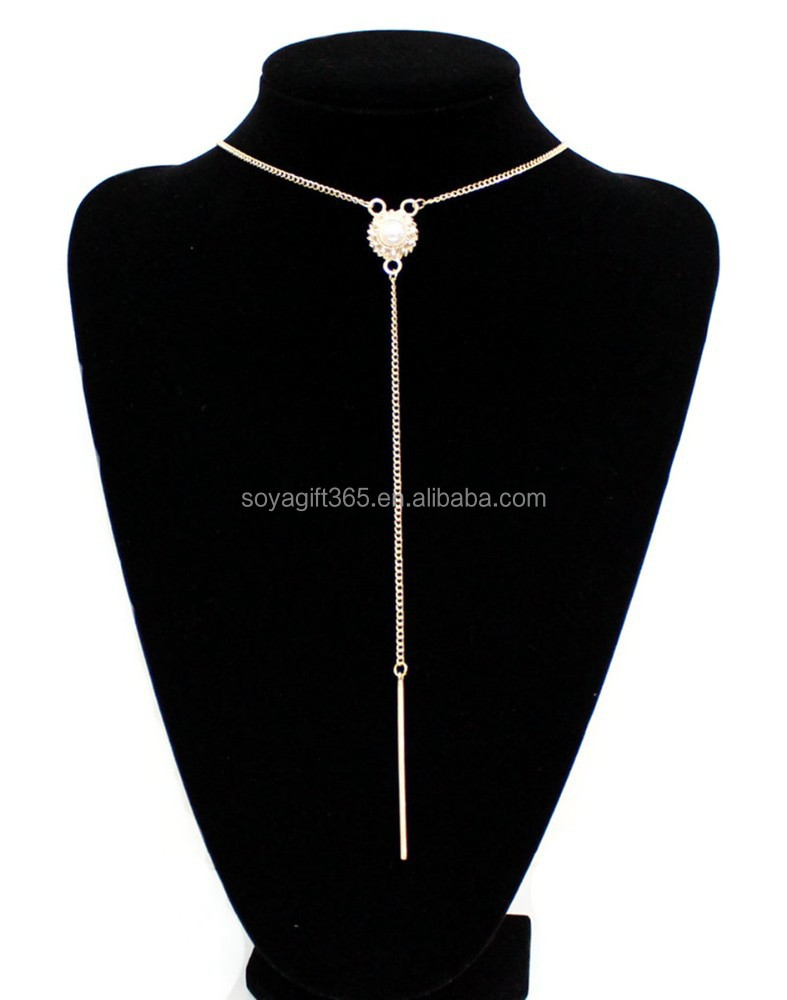 Gold Long Lariat Bar Necklace Everyday Simple Layered Y Necklace