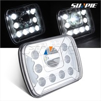 Rectangle LED Truck Trailer Back-Up Lights,24Volt Square Truck Lamp with 9 LEDs and Angel Eyes