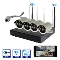 4Ch cheap HD wireless IP camera recording system nvr kits CE FCC RoHS